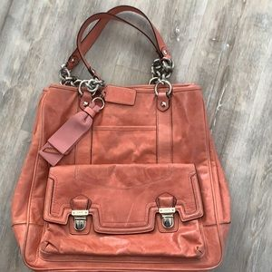 Coach leather bag, pink salmon colour leather